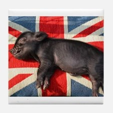 Micro pig sleeping on Union cushion Tile Coaster