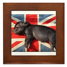 Micro pig sleeping on Union cushion Framed Tile