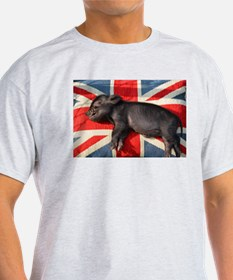 Micro pig sleeping on Union cushion T-Shirt
