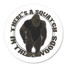 Bigfoot in woods Round Car Magnet