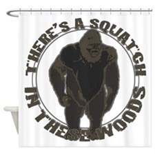 Bigfoot in woods Shower Curtain