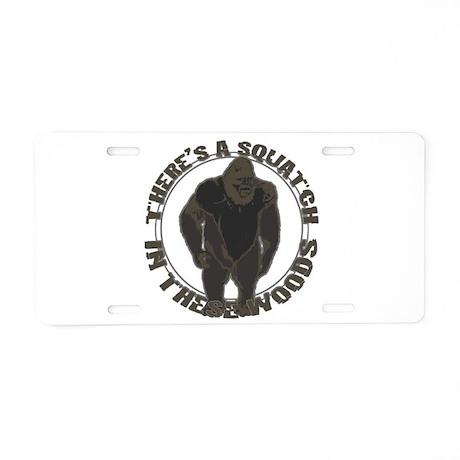 Bigfoot in woods Aluminum License Plate
