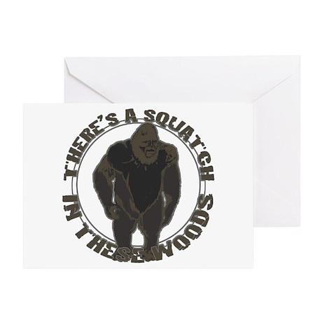 Bigfoot in woods Greeting Card