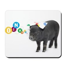 Little female micro pig with bow Mousepad
