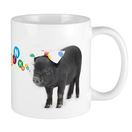 Little female micro pig with bow mug by listing store 59679680 for Mug isotherme micro ondable