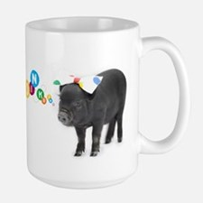 Little female micro pig with bow Large Mug