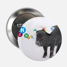 """Little female micro pig with bow 2.25"""" Button"""
