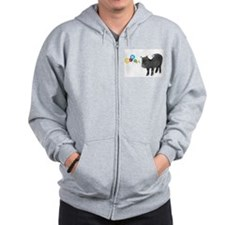 Little female micro pig with bow Zip Hoodie