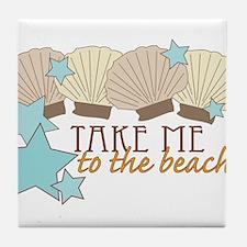 To The Beach Tile Coaster