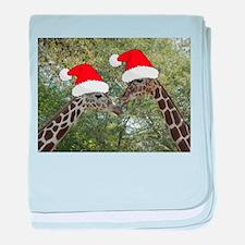 Christmas Giraffes baby blanket