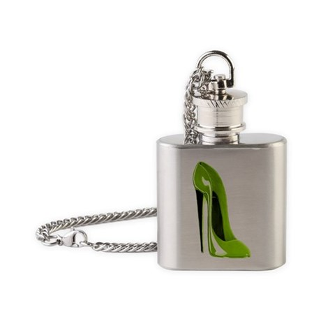Lime Green Stiletto Shoe Art Flask Necklace