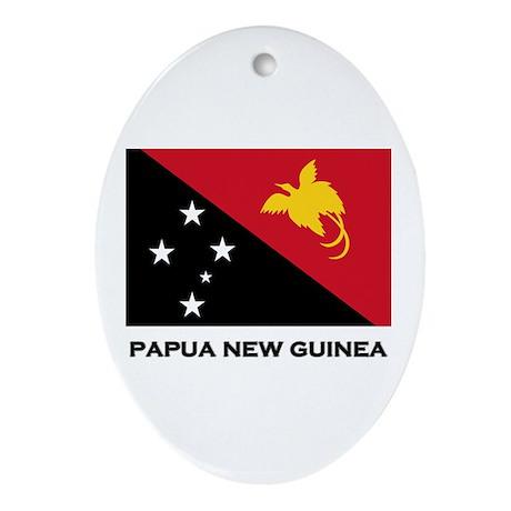 Papua New Guinea Flag Stuff Oval Ornament