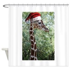 Christmas Giraffe Shower Curtain