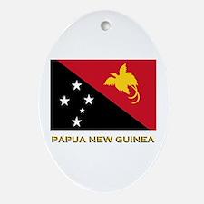 Papua New Guinea Flag Gear Oval Ornament