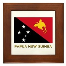 Papua New Guinea Flag Gear Framed Tile