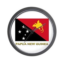 Papua New Guinea Flag Gear Wall Clock
