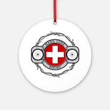 Switzerland Biking Ornament (Round)