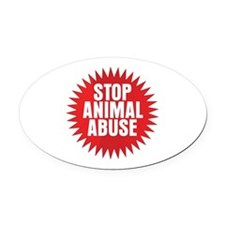 Stop Animal Abuse Oval Car Magnet