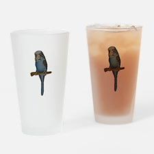 Blue Budgie Art Drinking Glass