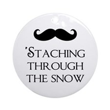 'Staching Through the Snow Round Ornament