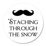 'Staching Through the Snow Round Car Magnet