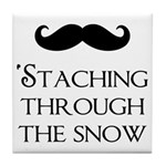 'Staching Through the Snow Tile Coaster