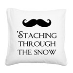 'Staching Through the Snow Square Canvas Pillow