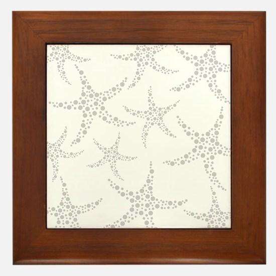 Dotty Gray Starfish. Framed Tile