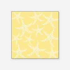 "Dotty Starfish, Yellow. Square Sticker 3"" x 3"""
