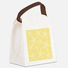 Dotty Starfish, Yellow. Canvas Lunch Bag
