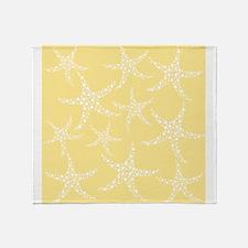 Dotty Starfish, Yellow. Throw Blanket
