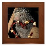 Porcupine With Berry Heart Framed Tile