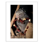 Porcupine With Berry Heart Small Poster