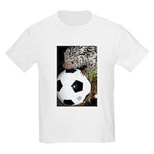 Porcupine With Soccer Ball Kids Light T-Shirt