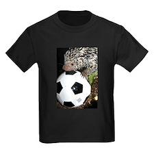 Porcupine With Soccer Ball Kids Dark T-Shirt
