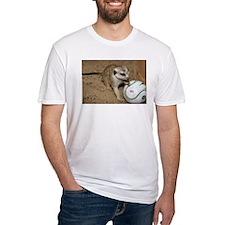 Meerkat on Soccer Ball Fitted T-Shirt