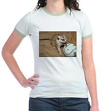 Meerkat on Soccer Ball Jr. Ringer T-Shirt
