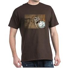 Meerkat on Soccer Ball Dark T-Shirt
