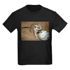 Meerkat on Soccer Ball Kids Dark T-Shirt