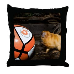 Golden Lion Tamarin with Volleyball Throw Pillow