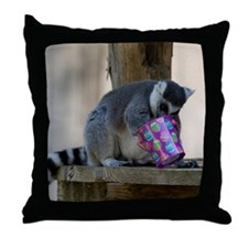 Lemur With Easter Bucket Throw Pillow