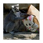 Lemur With Easter Bag Tile Coaster