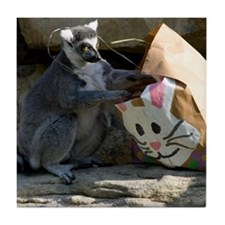 Lemur With Easter Bag Tile Coaster