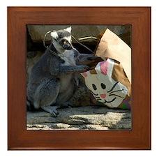 Lemur With Easter Bag Framed Tile