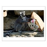 Lemur With Easter Bag Small Poster