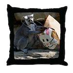 Lemur With Easter Bag Throw Pillow