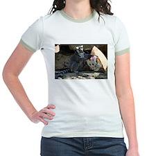 Lemur With Easter Bag Jr. Ringer T-Shirt