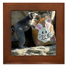 Lemur In Easter Bag Framed Tile