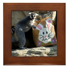 Lemur In Easter Bag Framed Tile