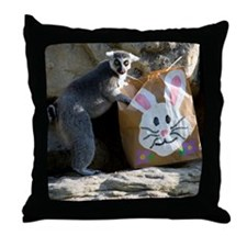 Lemur In Easter Bag Throw Pillow